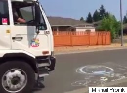 B.C. Street Sweeper With Heart Of Gold Saves Girl's Chalk Art
