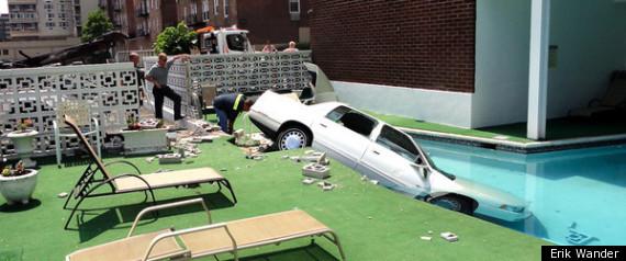 MAN CAR CRASH POOL