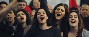 Supporters Of Leftwing Syriza Party Sing At The El