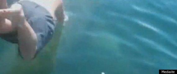 MAN JUMPS ON SHARK