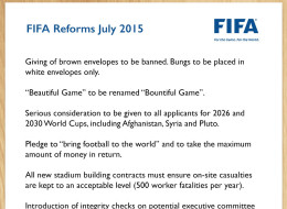 New FIFA Reform Plans Leaked
