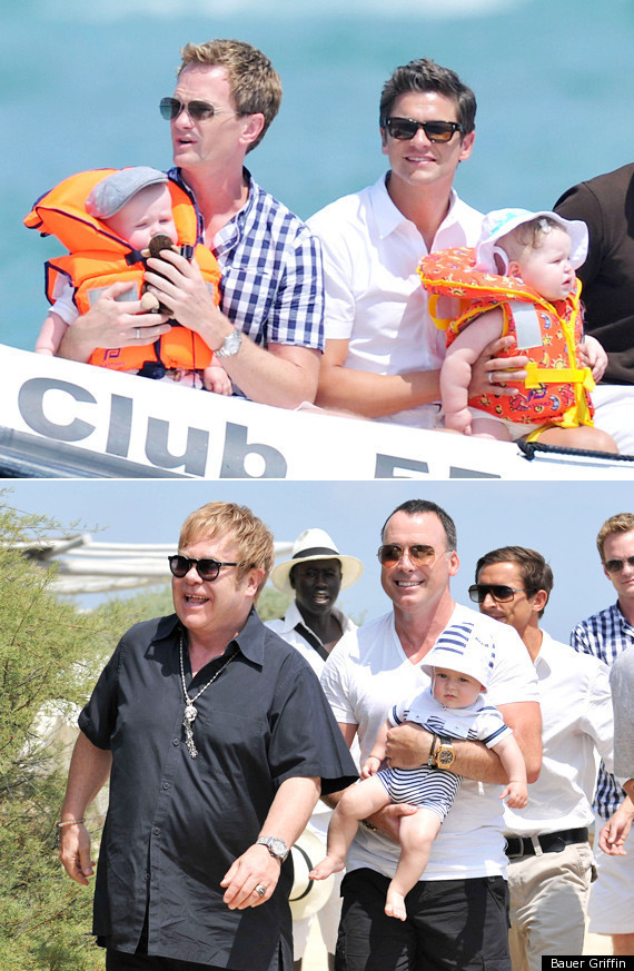Tow N Go >> Neil Patrick Harris Boards Elton John's Yacht With Twins In Tow (PHOTOS) | HuffPost