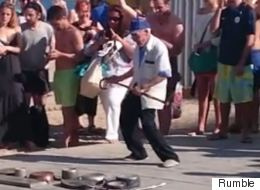 Elderly Man Hilariously Dances to Street Percussionist