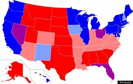 Key Data Represents Voting Pattens From 1996 2000 2004 2008 Presidential Elections Red Represents States Where A Republican Candidate Carried The Vote