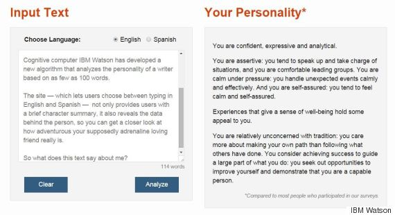 essay personality test Predict personality characteristics, needs and values through written text.