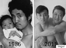 Un père et son fils prennent la même photo pendant 27 ans (PHOTOS)