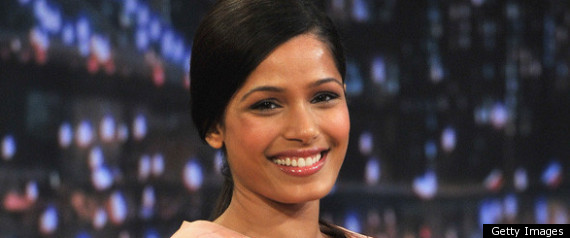 Freida Pinto Wears Nude Victoria Beckham Dress On