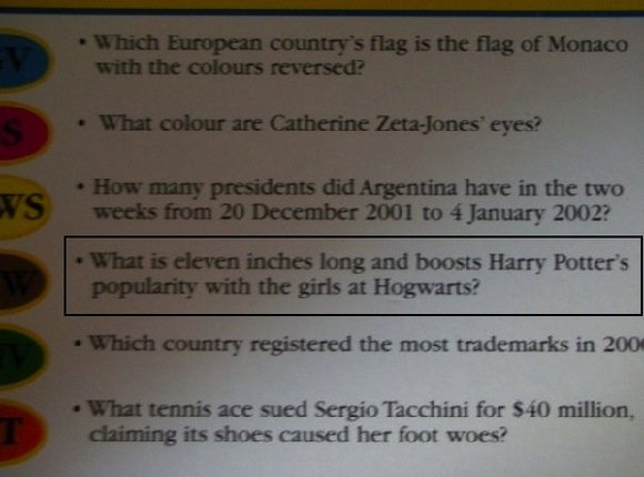 Harry Potter Trivia Question Unintentionally Sexual (PICTURE