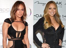 J. Lo y Mariah Carey con vestidos negros, pegaditos y reveladores