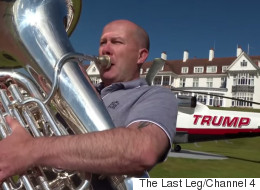 Adam Hills Sent Someone To Follow Donald Trump With A Tuba And It Was Wonderful