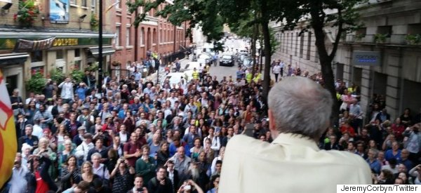 Watch Jeremy Corbyn Give A Speech On A Fire Engine To Lots Of People