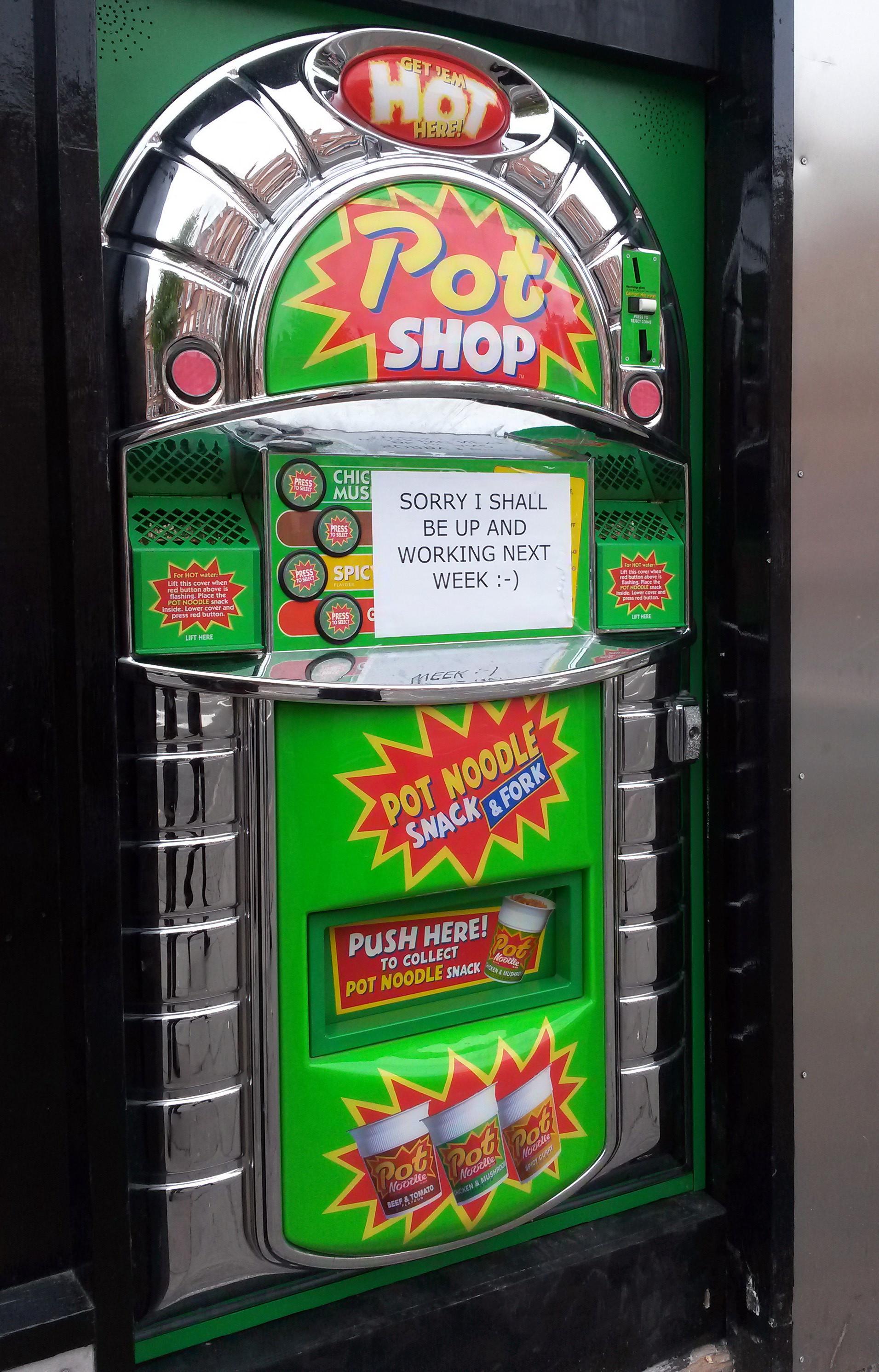Pot noodle vending machine in Nottingham
