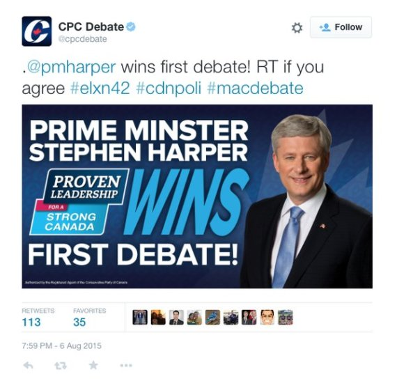 The tweet was quickly deleted, but not before it was screengrabbed by and ridiculed by debate watchers.