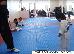 Adorable Little Boy Struggles To Break Board In Martial Arts Class