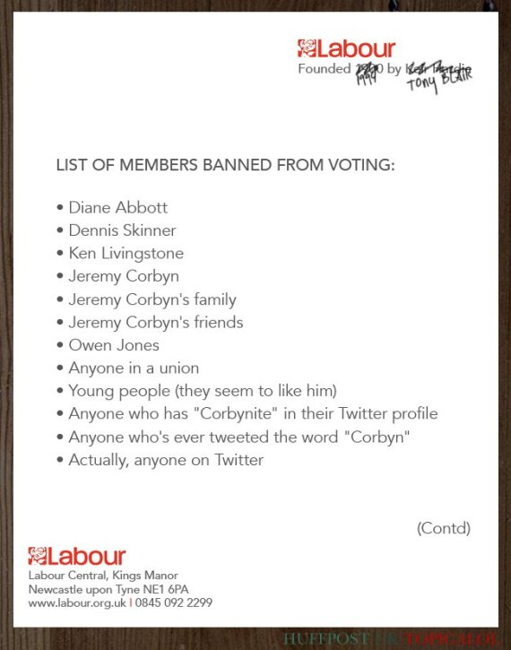 list of people banned from labour leadership