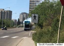 Edmonton Double-Decker Bus Bursts Into Flames