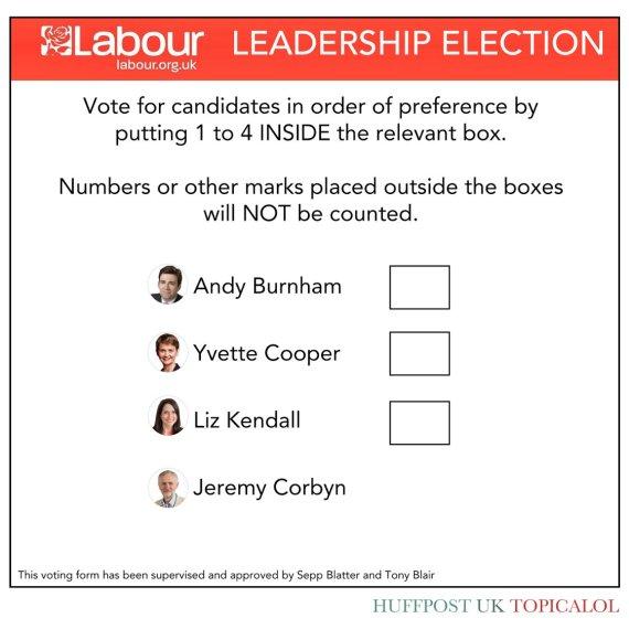 ballot paper jeremy corbyn labour leadership elect