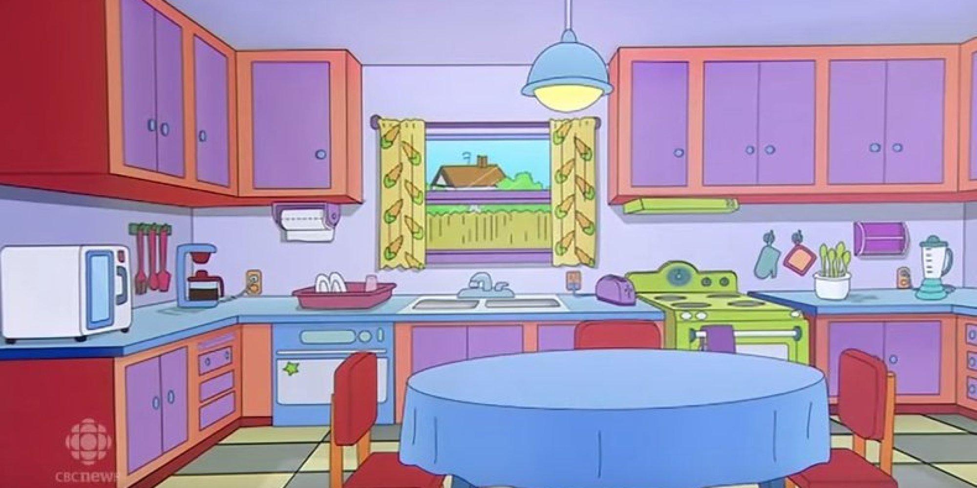 Vid o ils recr ent la cuisine des simpson en vrai dans for Salle a manger dessin anime