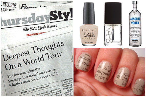 Newspaper Nail Polish With Water Hession Hairdressing