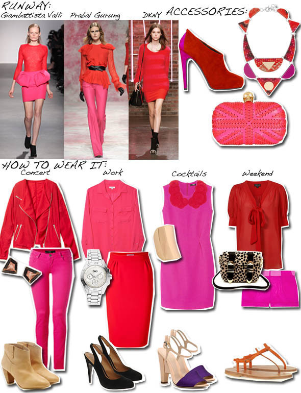 What Goes With Red clash course: hot pink & red | huffpost