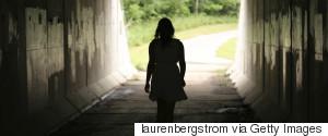 SAD WOMAN WALKING REAR