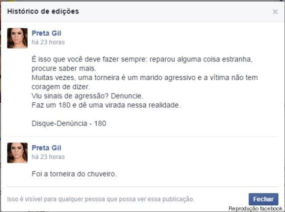 o PRETA GIL 570 Famosas alertam para violência doméstica no Facebook