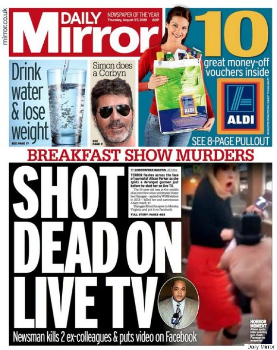 Virginia Shooting: Newspaper Front Pages Prompt ... Daily Mirror