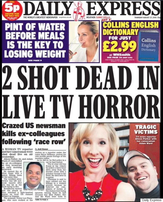 Virginia Shooting: Newspaper Front Pages Prompt ... Daily Express