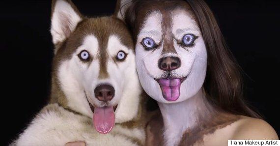 husky dog face paint