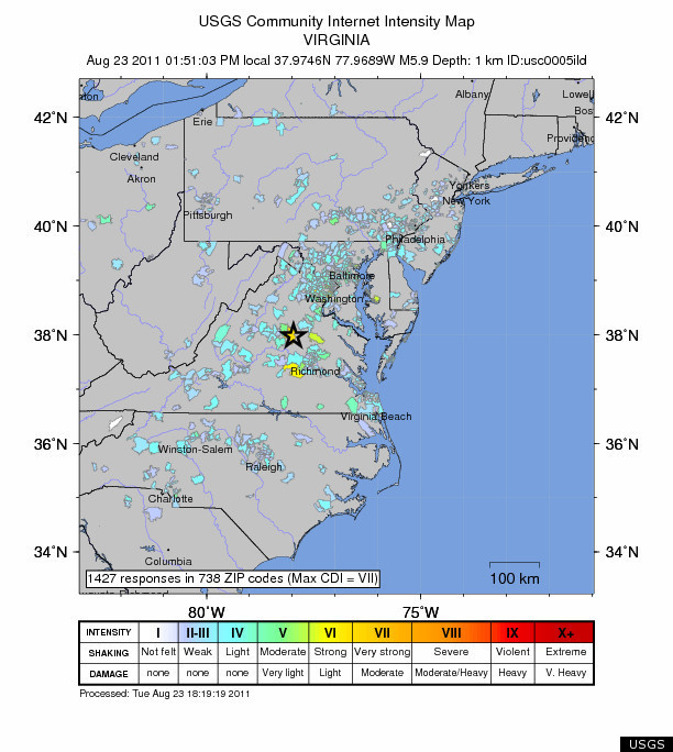 Virginia Earthquake 2011 MAPS Estimated 58 Quake Felt Along East