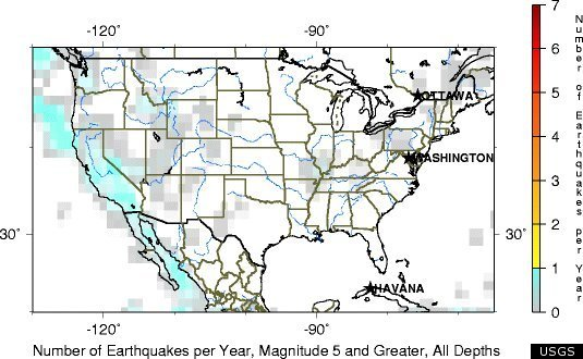 And For A Little Additional Context This Last Map Shows The Number Of Magnitude 5 And Greater Quakes Felt Each Year Across The U S