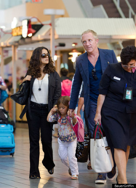 Salma Hayek & Francois-Henri Pinault Out With Daughter