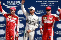 Vettel, Hamilton and Raikkonen greet the crowds | Pic: PA