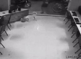 Un idiota intenta patear a un perro y obtiene su merecido