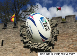 World Cup Kicks Off With Giant Rugby Ball 'Crashing' Through Cardiff Castle