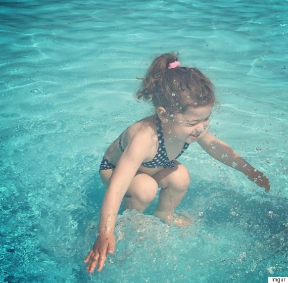 girl under over water