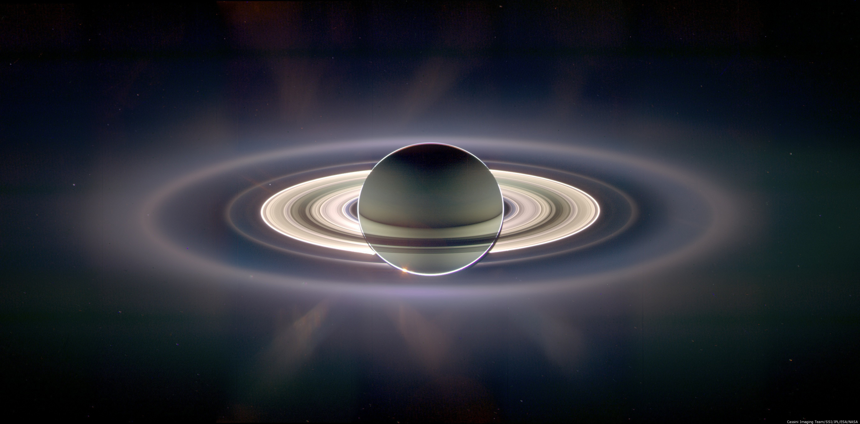 NASA's Cassini spacecraft, which continues to orbit Saturn, captured this picture in 2006 as it floated in the planet's shadow for about 12 hours.