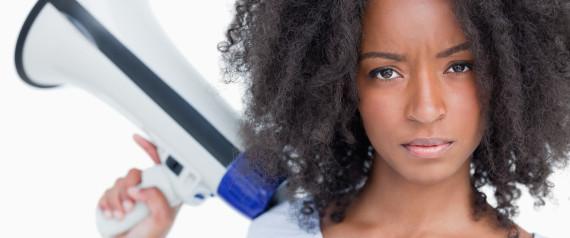 BLACK WOMAN MEGAPHONE
