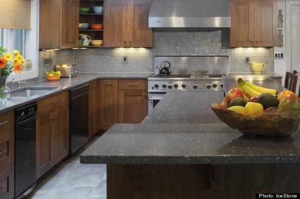 Green Kitchen Countertop Option 2 Created Out Of Recycled Glass And Concrete Icestone Durable Surfaces Are Built In A Brooklyn Ny Factory
