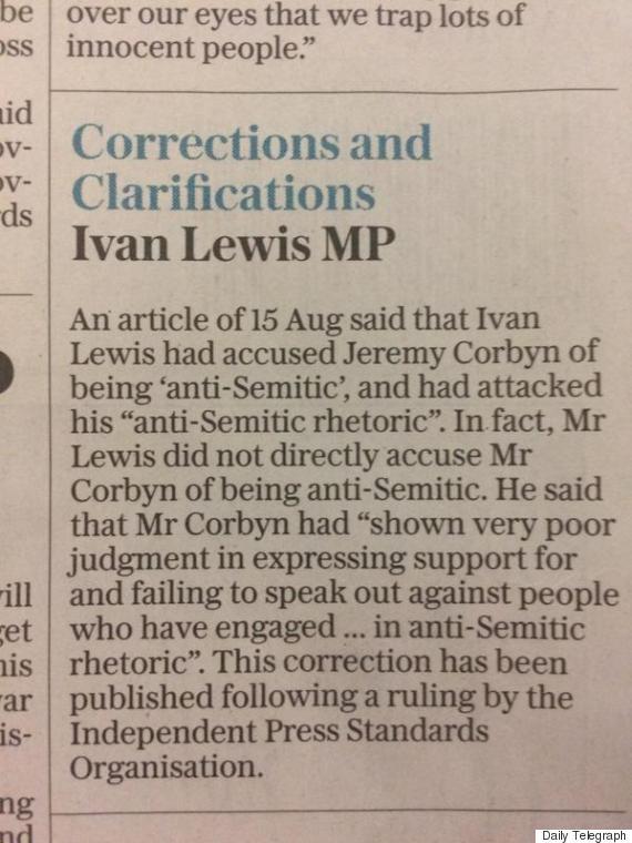 telegraph correction corbyn ivan lewis