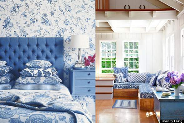 Color diary decorating blue and white rooms video for Blue and white bedroom wallpaper