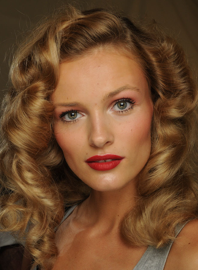Backstage Beauty: Red Eyes, Red Lips & Rita Hayworth Curls ...
