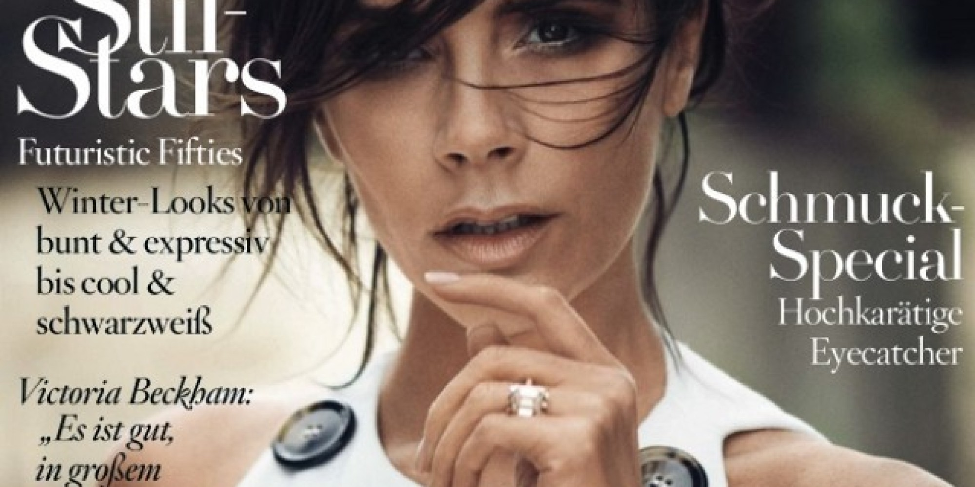 victoria beckham flashes bling ring and rocks monochrome trend on german vogue cover huffpost uk