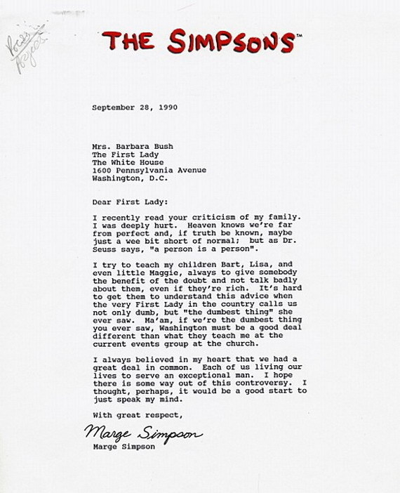Marge simpsons letter to former first lady barbara bush picture marge simpsons letter to former first lady barbara bush picture spiritdancerdesigns Images