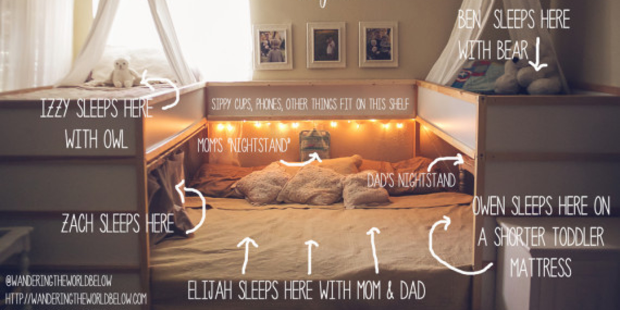 co sleeping unique bed hack allows family of 7 to sleep together. Black Bedroom Furniture Sets. Home Design Ideas