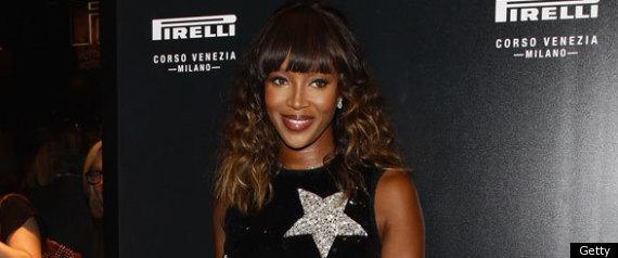 Naomi campbell in star print dress at pirelli party in milan for Naomi campbell pirelli