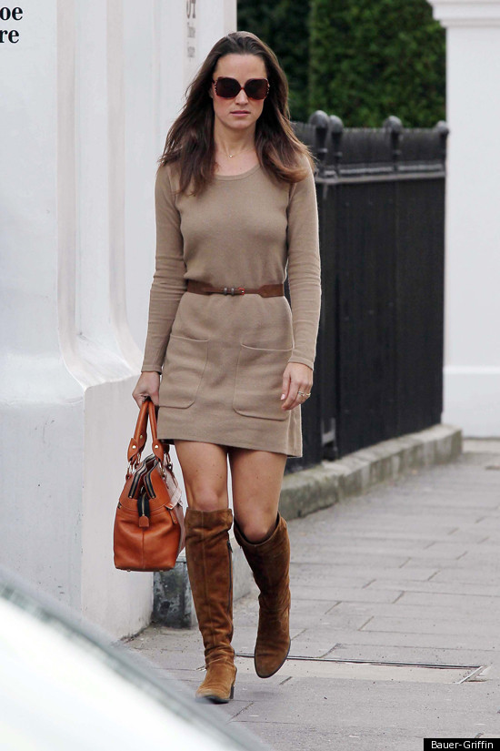 Pippa Middleton Wears A Minidress Suede Knee High Boots Photo