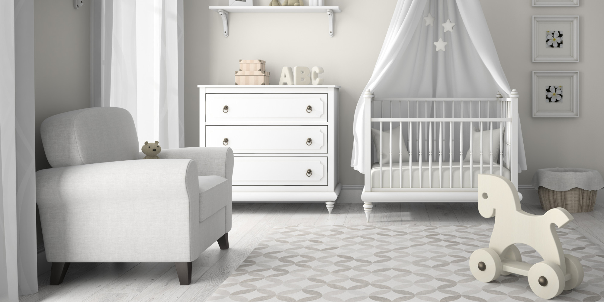 How to decorate your baby 39 s nursery in a day huffpost uk for Best baby cribs for small spaces