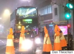 Police Called Out To Deal With Men Dressed As Traffic Cones Blocking Roads On Halloween