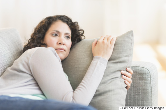woman in 40s worried
